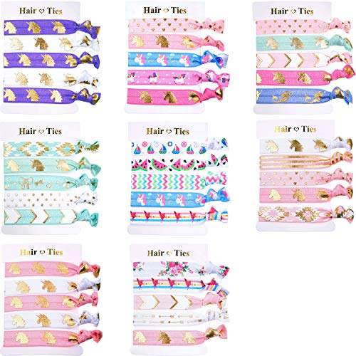 BBTO 40 Pieces Unicorn Colorful Hair Ties Bracelet Party Favors Birthday Gifts Supplies, Elastic Ponytail Holders Decorations for Girl and Children (Style 1)]()