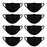 Whavel 8 Pack Reusable Cotton Mouth Masks Flu Dust Mask For Women and Men, Black