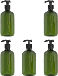 Solustre 5pcs Shampoo Pump Bottle Empty Plastic Bottles 500ml Travel Size Refillable Container for Home Travel Trip (Dark Green)