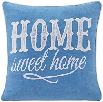 Danya B Blue Home Sweet Home Cotton Embroidered Decorative Toss Throw Accent Pillow