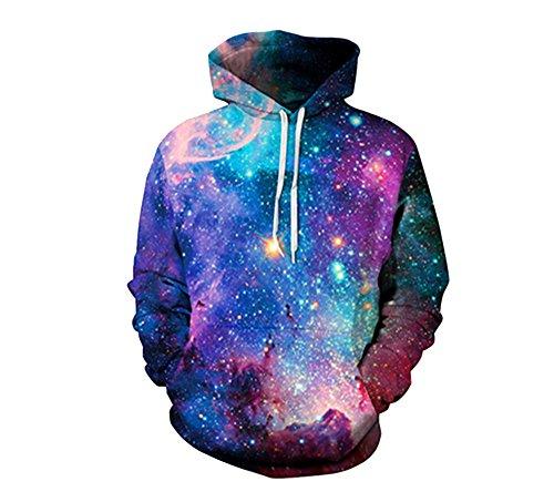- ZFADDS Space Galaxy 3D Sweatshirts Men/Women Hoodies with Hat Print Stars Loose Hoody Thin Tops Outwear QYDM001 XXXL