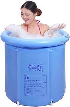 GNEGNIS Plegable Bañera inflable, Portátiles bañera de barril del para Adultos, Aumentar Espesar Cubo de baño - Azul, 75 * 75cm