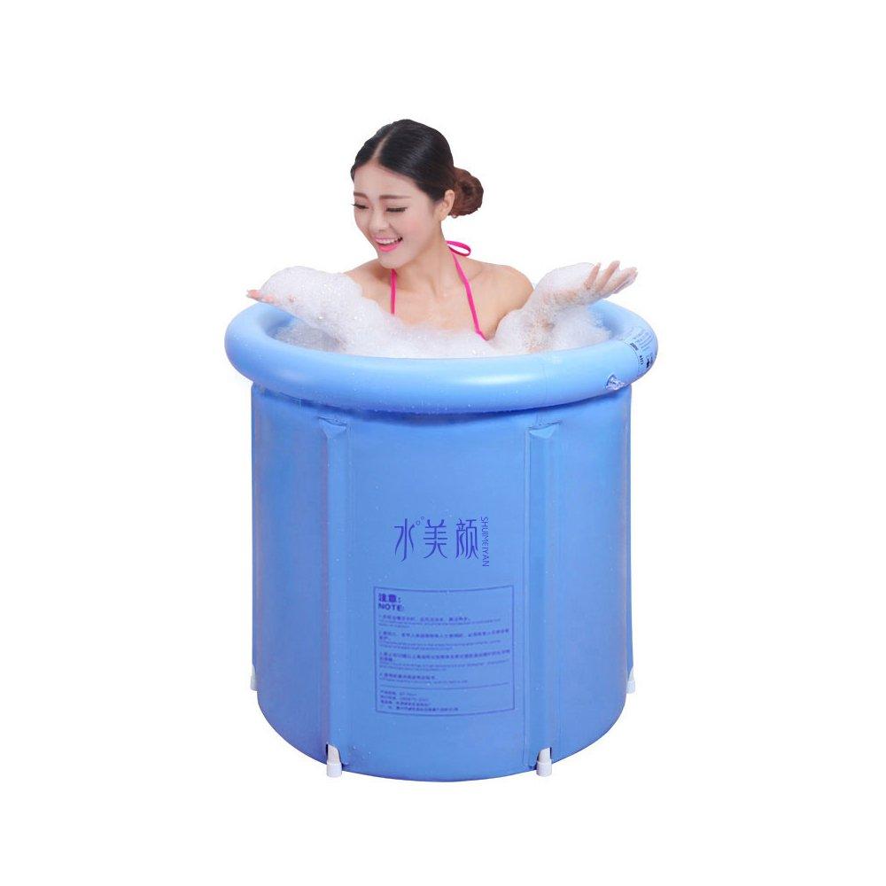 EOSAGA Inflatable Bath Tub PVC Portable Bathtub Inflatable Spa For Adult Bathroom SPA With Air Pump Large Blue by EOSAGA