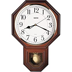 Traditional Schoolhouse Easy to Read Pendulum Plastic Wall Clock Chimes Every Hour With Westminster Melody Made in Taiwan, 4AA Batteries Included ( PP0258-W Wooden Grain)