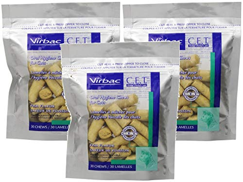 (Virbac 3 Pack of C.E.T. Enzymatic Oral Hygiene Chews for Cats, Fish Flavor, 30 Chews Per Pack )