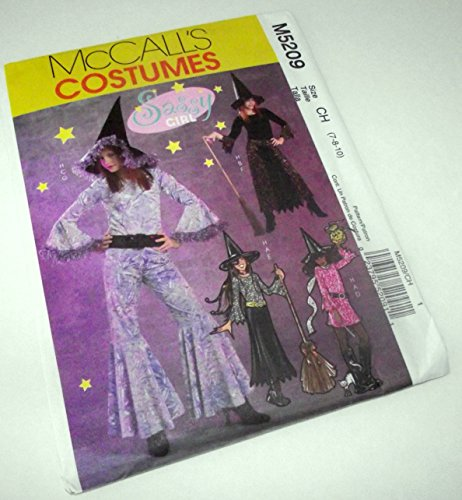 McCall's 5209 Sewing Pattern Girls Sassy Witch Costumes Makes sizes 7-8-10