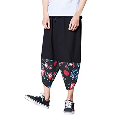 074b7d060572a Zhhlinyuan Mens Teens Retro Ethnic Style Linen Pants Trousers Plus Size  Casual Harem Pants for Comfy Breathable