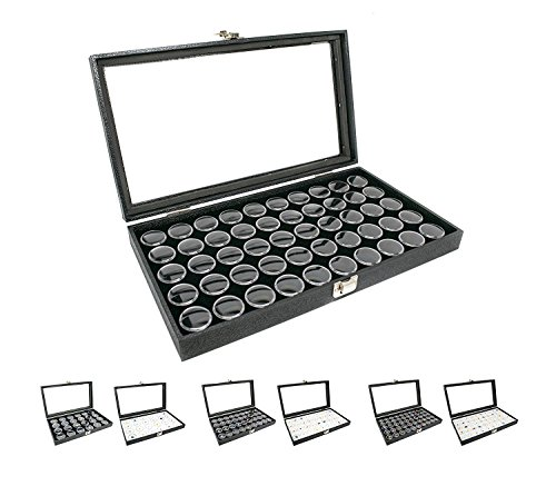 Novel Box® Large Glass Top Black Leatherette Jewelry Display Case + 50 Count Jar Insert Tray in Black + Custom NB Pouch