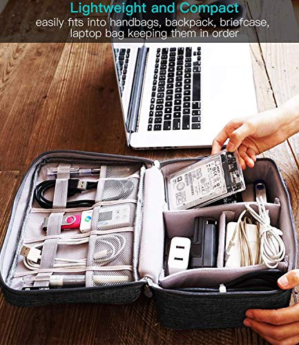 EAYIRA Gedget Organiser Electronics Accessories Organizer Bag, Universal Carry Travel Gadget Bag for Cables, Plug and More, Perfect Size Fits for Pad Phone Charger Hard Disk (Black)