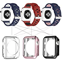 Apple Watch Breathable Band 38mm 42mm, UMTELE Silicone Replacement Wristband Sport Strap with TPU Protective Case...