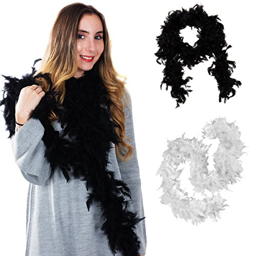 Tigerdoe Feather Boas - 2 Pack - Black and White Marabou Boa, Party Dressup Costume Accessories, 72 inch Long for $<!--$10.99-->