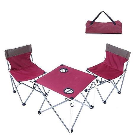 LJFYMX Mesa y sillas de Camping Mesa de Picnic Plegable al ...