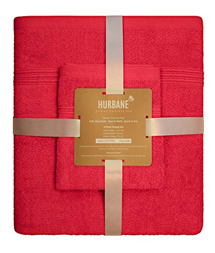 Blancho Bedding HURBANE Premium 6 Piece 550 GSM 2 ply 100% Cotton Luxury Towel Set with 2 Bath Towels, 2 Hand Towels, 2 Wash Cloth, Better Than 5 Star Hotel Grade, Red from Blancho Bedding
