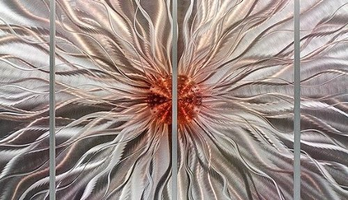 Mesmerizing Fusion of Silver & Copper Contemporary Abstract