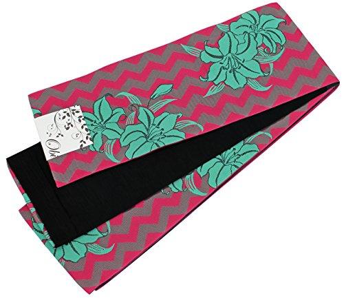 家主ランタン健全半幅帯 レディース 緑色 ピンク色 百合 N0421
