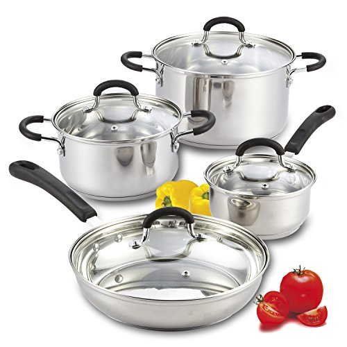 Cook N Home 8 Piece Stainless Steel Cookware Set with Encapsulated Bottom, Large, Silver For Sale