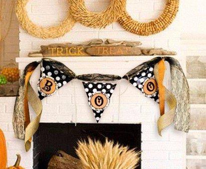 Easy Diy Halloween Costumes (DIY Easy Vintage Style Halloween Decor BOO Pennant Flag Banner Kit in Whimsical Style)