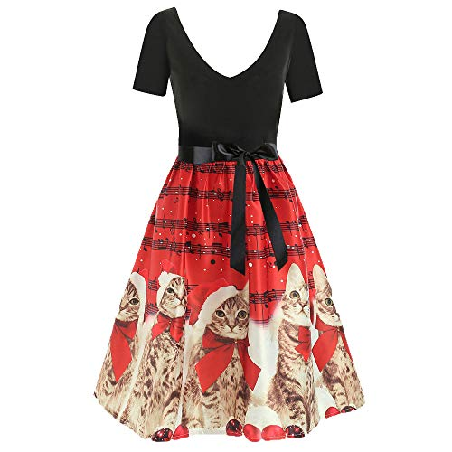 Sunhusing Ladies Christmas Vintage Short Sleeve Kitten Cat Musical Notes Printed Flare Dress Skirt Gown