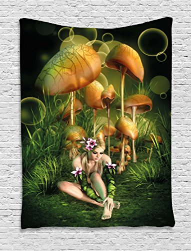 Fairy Tapestry (Mushroom Tapestry by Ambesonne, Fairy Woman in Enchanted Forest Elf Pixie Fungus Growth Flowers Grass, Wall Hanging for Bedroom Living Room Dorm, 60 W X 80 L Inches, Green Light Brown Pink)