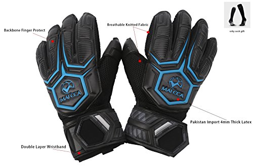 - Maicca Soccer Goalkeeper Gloves Full Latex Finger Protect Goalie(Blue, 9)