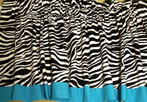 (Zebra with Turquoise Border Valance Window Treatment Curtain Custom Made)