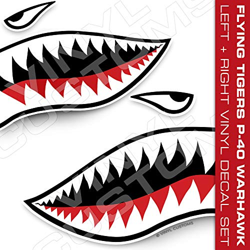 Tigers Decals Flying - Flying Tigers Decals Shark Teeth Stickers (30