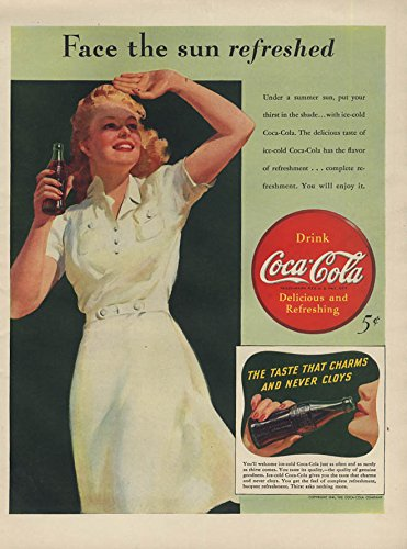 Face The Sun Refreshed   Coca Cola Ad 1941 Blonde Shades Her Eyes