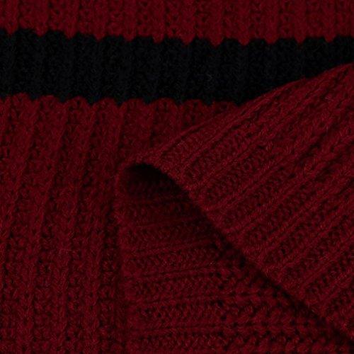 Maglia Lunga Vino Tasca Maglia Signore Inverno Cappotto Autunno A Rosso Delle A Manica Cardigan Giacca Delle Strisce Burfly® Donne Moda Maglione Di Con BXaq67Rw