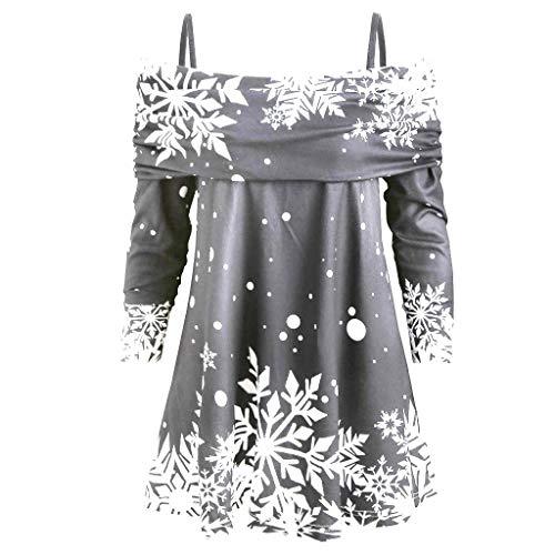 Clearance Tops Halloween Christmas Women Pullover Santa Claus Sweatshirt Long Sleeve Snowflake Printed Blouse (E_Grey, M)