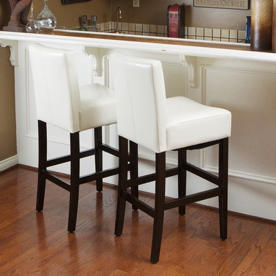 Best Selling Lopez Leather Counter Stool, Ivory, Set of 2