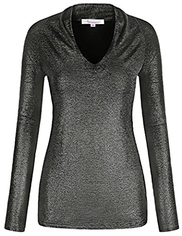 Metallic Shirt ,Misswor Womens Pleat V Neck Long Sleeve Blouse Top Slim Fitted Dressy Shimmer Tunic Tee Loft Clothing for Jeans Black - Womens Shimmer