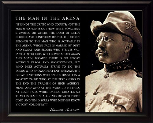 Theodore Teddy Roosevelt The Man in The Arena Quote 8x10 Framed Picture (Cowboy Hat Photo)