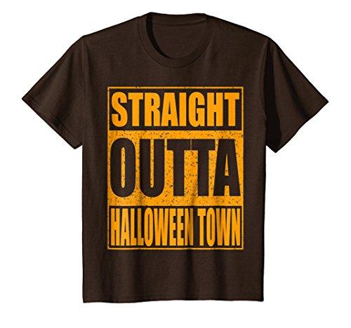 Kids Straight Outta Halloween Town T-Shirt 6 Brown -
