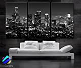 Original by BoxColors Large 30''x 60'' 3 Panels 30''x20'' Ea Art Canvas Print Beautiful Los Angeles Ca Skyline Black & White Wall Home (Included Framed 1.5'' Depth)