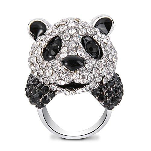- EVER FAITH Women's Austrian Crystal Panda Cocktail Ring Black w/Clear Silver-Tone Size 6