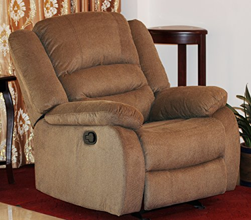 US Pride Furniture Contemporary Fabric Rocking Recliner Chair, Light Brown (Us Reclining Rocking Chair)