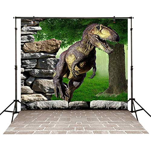 (Funnytree 5x7ft Dinosaur Word Party Backdrop Boy Birthday Tropical Jungle Safari Photography Background Rainforest Animals Stone Wall Brick Floor Portrait Decor Banner Photobooth Photo Studio Props)