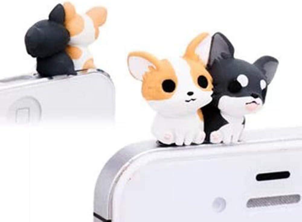 ZOEAST Adorable Corgi Chihuahua Pomeranian Doggie Dust Plug 3.5mm Smart Phone Headphone Jack Earphone Cap Ear Charm Compatible with iPhone 4 4S 5 5S 6 6S Plus HTC Samsung IPad iPod etc (Corgi)