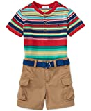 Ralph Lauren Baby Boys Striped Henley Shirt, Cargo Shorts & Belt Set (9 Months)