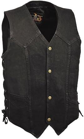 Men/'s Biker Blk son of anarcy denim vest with leather trim /& side laces Cotton