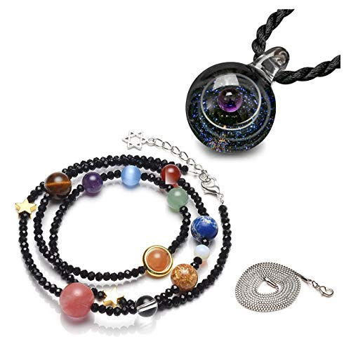 Top Plaza Fashion Glass Ball Pendant Necklace Chakra Healing Crystal Beads Adjustable Bracelet Universe Galaxy 9 Planets Jewelry Set Unique Special Birthday Christams Gift for Womens Girls - Bracelet Pendant Glass