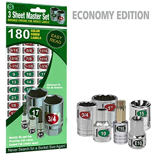 """Mechanics Master Set """"Economy Edition"""" ( Green) 180 piece chrome foil labeling set for Socket Sets 1/4"""", 3/8"""", 1/2"""" Drives, Torx, Jumbo's and Extra Sizes, tag 180 Sockets """"quick and easy"""""""