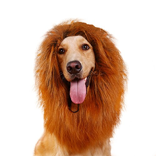Real Spark(TM) Dog Wigs Lion Mane Furry Hair Festival Party Pet Dress Up Costume With Ears For Medium Dogs Dark Brown