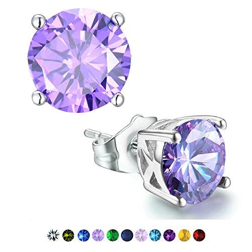 Casfine Silver Birthstone Stud Earrings Round Cubic Zirconia Diamond February (Peace Symbol Earrings)
