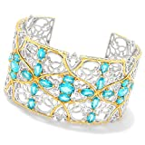 Michael Valitutti Palladium Silver Paraiba Color Topaz Scrollwork Wide Cuff Bracelet