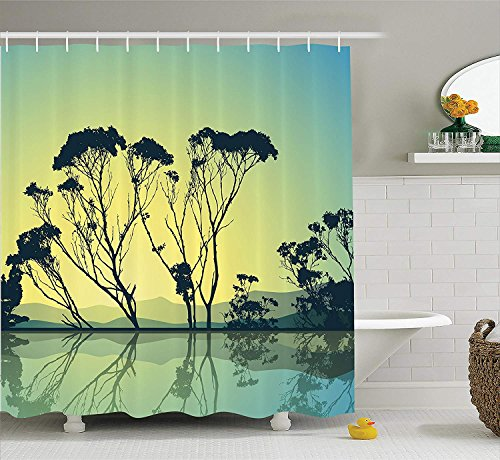Afagahahs Apartment Decor Shower Curtain Set Crystal Tree Silhouettes with Reflections in The Water National Park Countyside Print Bathroom Blue Yellow -
