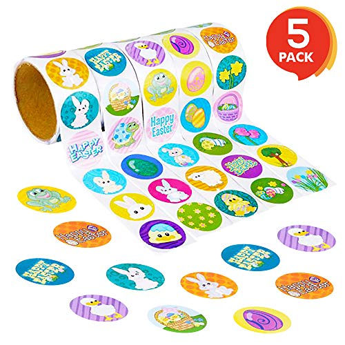 ArtCreativity Easter Sticker Roll Assortment | 5 Rolls with 500 Stickers Total | Assorted Vibrant Designs and Colors | Cute Holiday Decorations, Easter Party Favors, for Boys and Girls Ages 3+
