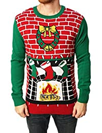 Ugly Christmas Sweater Men's Fireplace Pullover Sweater-Medium