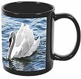 Rikki Knight White Swan Design 11 oz Photo Quality BLACK Ceramic Coffee Mugs Cups - Dishwasher and Microwave Safe
