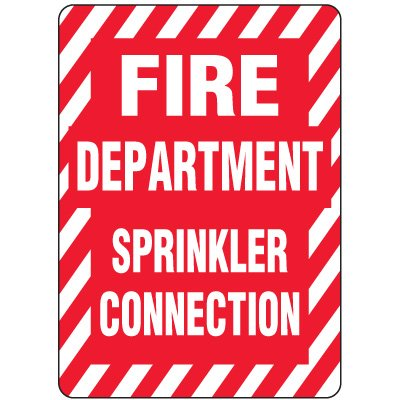 Aluminum Fire Department Sprinkler Connection Safety Sign - 10